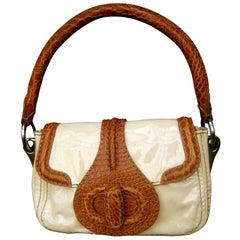 Prada Milano Tan Patent Leather Embossed Trim Handbag, circa 1990s