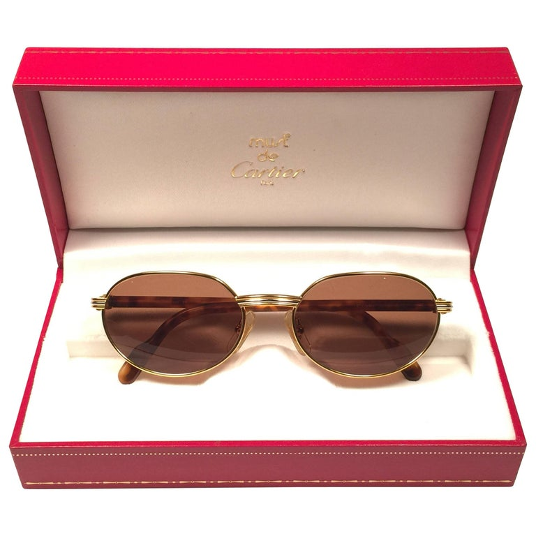 e88ad62f06b New Cartier Classic Oval Lueur 51mm Gold Plated Sunglasses Made in France  For Sale