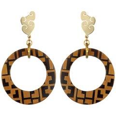 Fouché Earrings Dangle Hoop Horn Africa Earrings