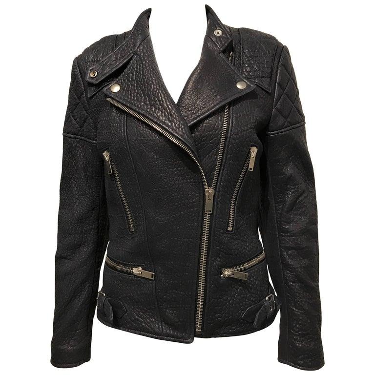 Celine Midnight-blue Leather Biker Jacket Sz 36 (Us4) For Sale