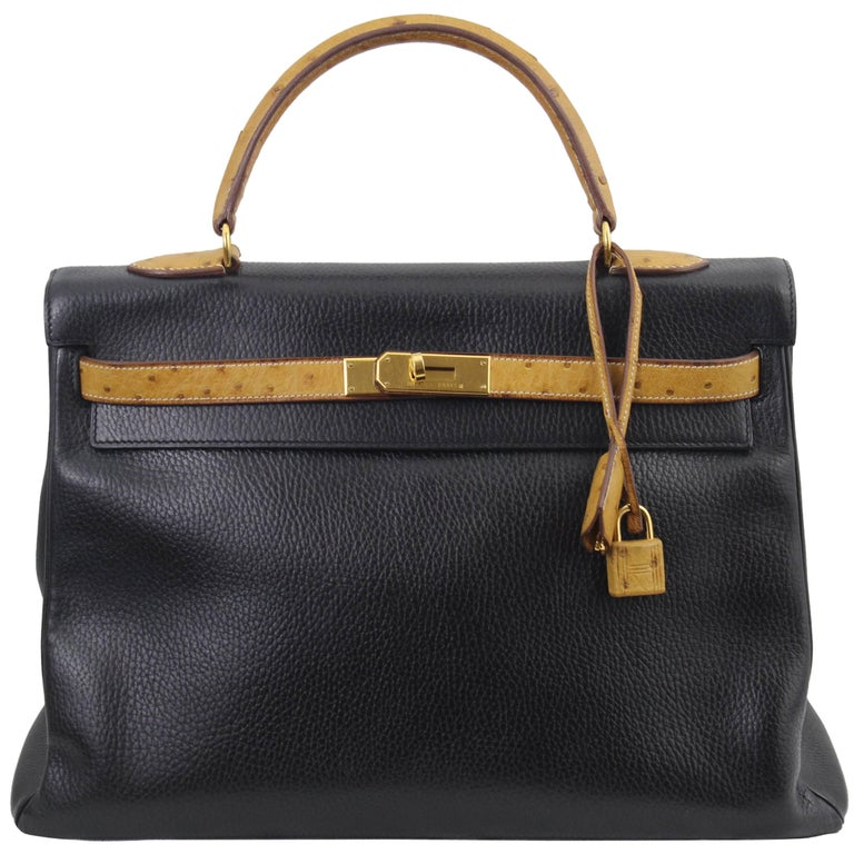 Hermes Black Kelly Vache Ardennes with Ostrich Handle, 1996