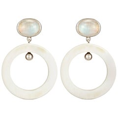 Fouche Art Deco Moonstone Dangle Hoop Horn Earrings