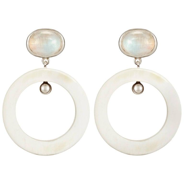 Fouche Art Deco Moonstone Dangle Hoop Horn Earrings For