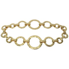 1980's Hammered Gold Ring Hip Hugger Chain Belt