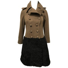 Burberry Prorsum Army Green Wool Coat With Black Shearling Skirt Sz 38 (Us2)
