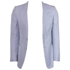 Tom Ford Men's Blue Notch Collar Silk Suit Jacket