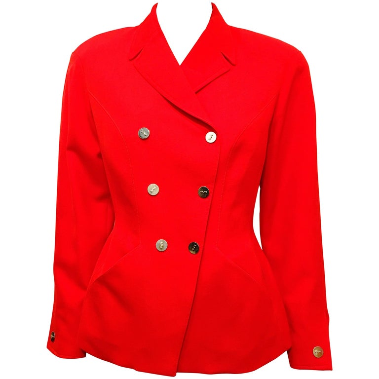 Thierry Mugler Red Double Breasted Wool Suit Jacket
