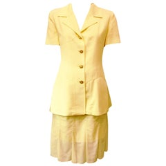 Karl Lagerfeld Pale Yellow Linen Short Sleeve Skirt Suit