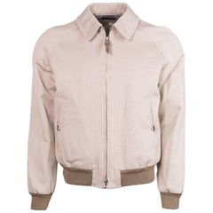 Tom Ford Men's Beige Calvary Twill Satorial Zip Sports Jacket