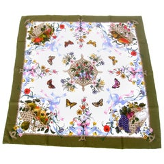 Gucci Italy Spring Floral and Butterfly Hand Rolled Silk Scarf, circa 1970s