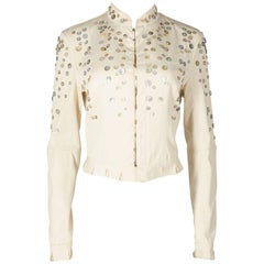Alexander McQueen ivory cotton jacket with decorative pearl buttons, SS 2003