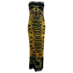 Vivienne Tam Tiger print strapless stretch mesh maxi dress, 1998
