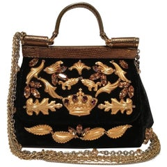 Dolce & Gabbana Limited Edition Black Velvet Alta Moda Sofia Handbag