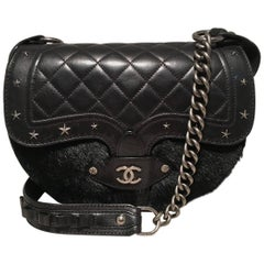 Chanel Black Fur and Leather Saddle Shoulder Bag