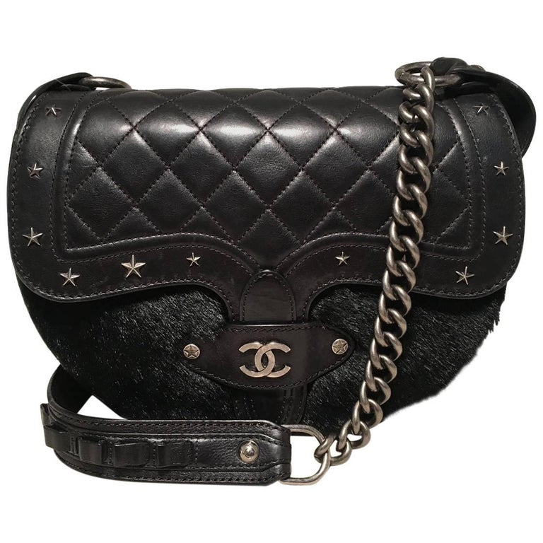 Chanel Black Fur and Leather Saddle Shoulder Bag For Sale
