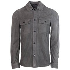 Tom Ford Men's Grey Suede Double Pocket Utility Shirt Jacket