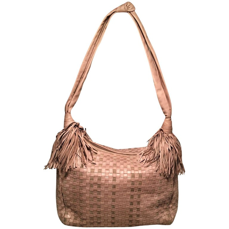 Bottega Veneta Vintage Tan Woven Leather Fringe Trim Shoulder Bag