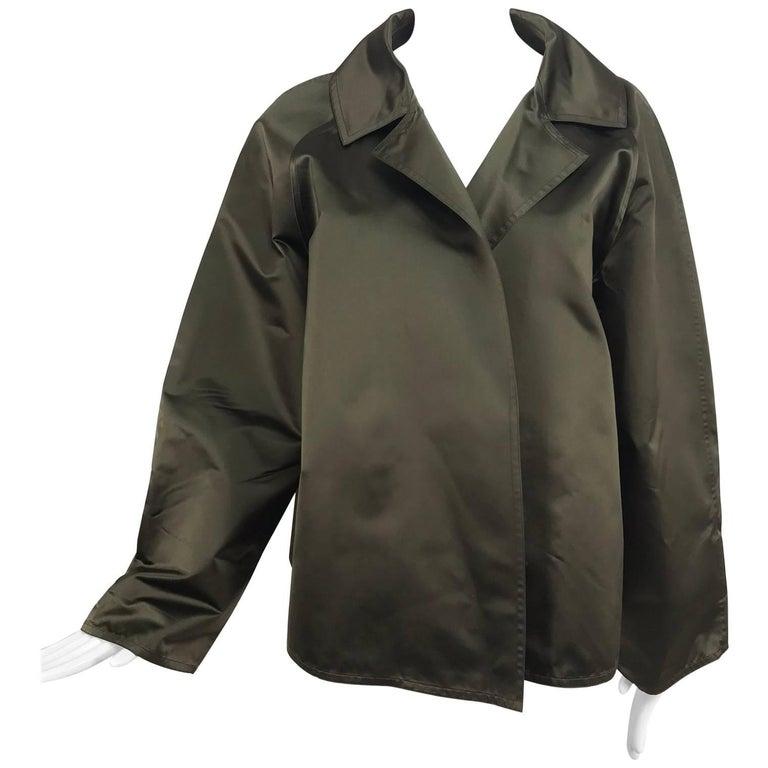 Zoran Dark Olive Silk Jacket  For Sale