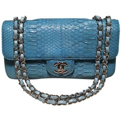 Chanel Blue Snakeskin Python Mini Classic Flap Shoulder Bag