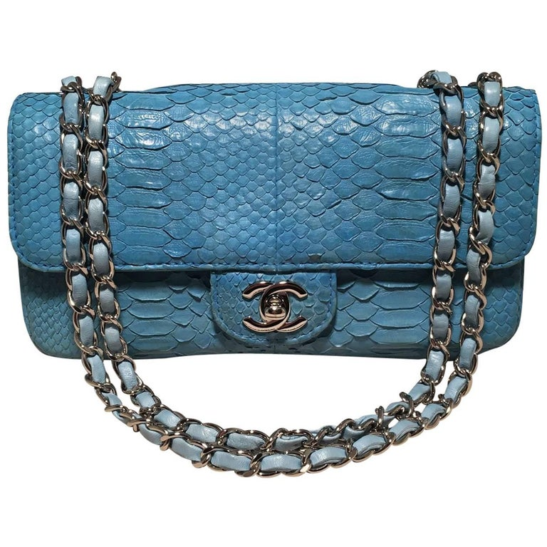 ef5b1ab52c7e Chanel Blue Snakeskin Python Mini Classic Flap Shoulder Bag For Sale ...
