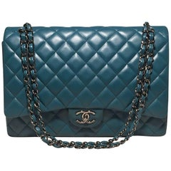 Chanel Dark Teal Quilted Lambskin Leather 2.55 Double Flap Classic Shoulder Bag