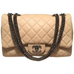Chanel Cream Quilted Leather Classic Flap Shoulder Bag