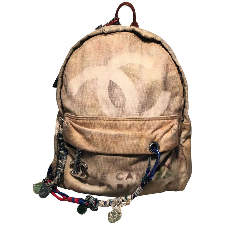 Chanel Art School Large Beige Canvas Graffiti Backpack