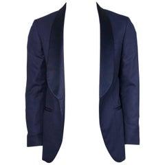 Brunello Cucinelli Navy 100% Cashmere Satin Lapel Cocktail Jacket