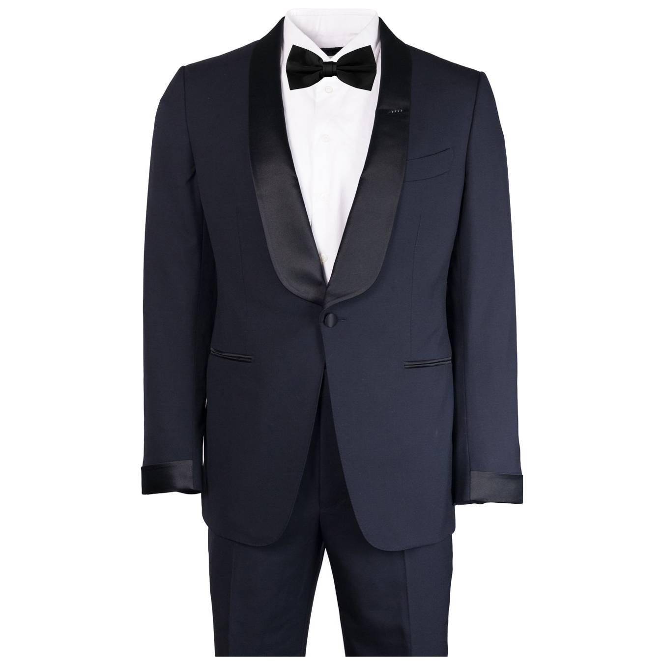 Tom Ford Navy Wool Satin Shawl Lapel O'Connor Two Piece Tuxedo For Sale