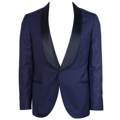 Brunello Cucinelli Navy Wool Tonal Satin Lapel Evening Jacket