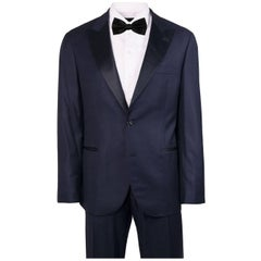 Brunello Cucinelli Navy Wool Tonal Satin Lapel Two Piece Suit