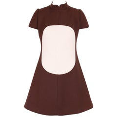Courreges Brown and Creme Wool Mod Space Age Day Dress with Circle Motif, 1960s