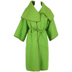 Bonnie Cashin for Sills Lime Green Boucle Wool Coat circa 1960s