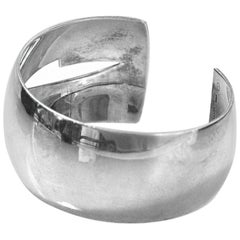 Gucci Wide Sterling Silver Cut Out Cuff Bracelet