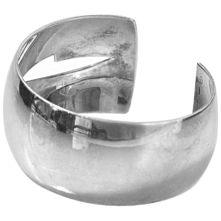 Gucci Wide Sterling Silver Cut Out Cuff Bracelet For
