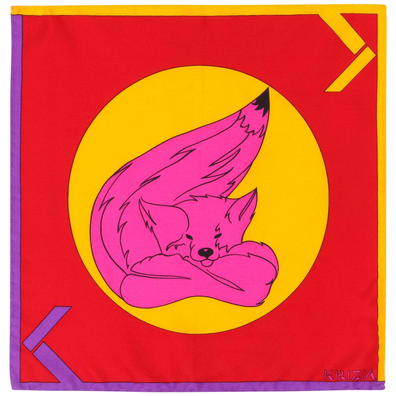 Vintage KRIZIA Bright Colorblock Fox Print Silk Pocket Square Scarf Handkerchief