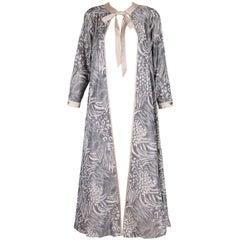 Geoffrey Beene Grey and Cream Silk Taffeta Printed Dress Coat Neck Ties 1970s