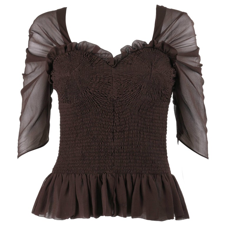 TOM FORD A/W 2015 Brown Silk Georgette Smocked Corset Peplum Top
