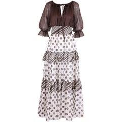 1970s Jack Bryan Brown & White Maxi Dress w/Polka Dot Print Skirt & Ruffled Trim