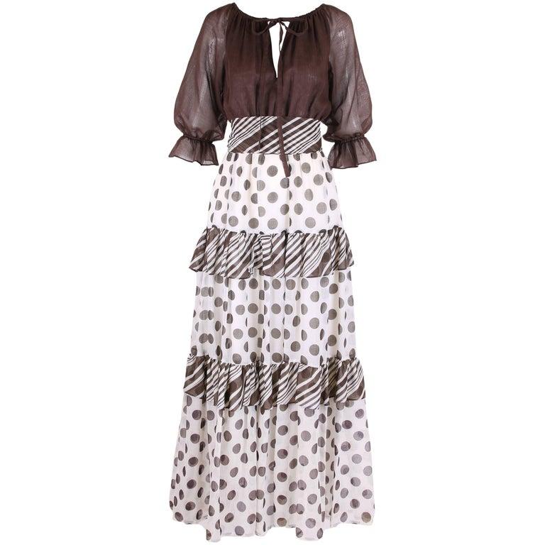 1970s Jack Bryan Brown & White Maxi Dress w/Polka Dot Print Skirt & Ruffled Trim For Sale