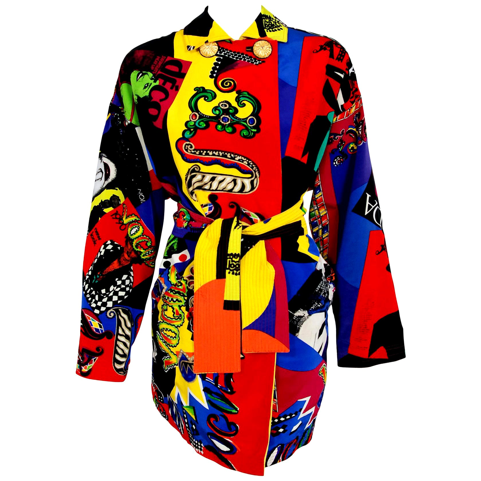Vintage 1991 Versace Couture Colorful Vogue Print Reversible Belted Trench Coat