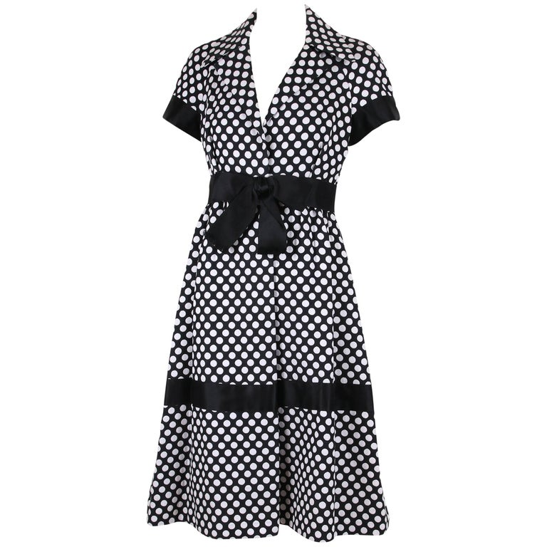 Geoffrey Beene Black and White Polka Dot Day Dress with Satin Bow, 1960s