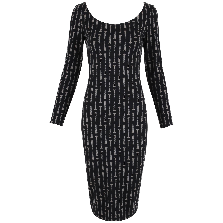 "Vintage Betsey Johnson ""Screw"" Print Stretch Bodycon Dress"