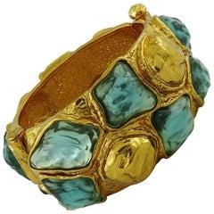 Yves Saint Laurent YSL Vintage Faux Gemstone Cuff Bracelet