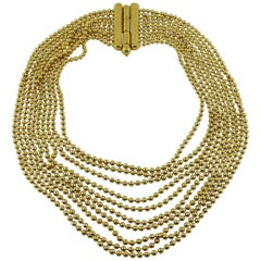Yves Saint Laurent YSL Vintage Gold Toned Multi-Strand Maasaï Style Necklace