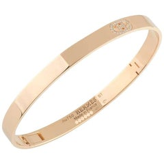 Hermes Rose Gold Diamond D Ancre Bangle 0.07ct