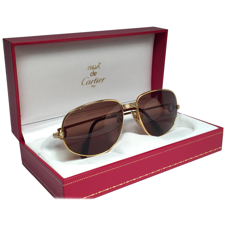 New Vintage Cartier Romance Vendome 56MM France 18k Gold Plated Sunglasses