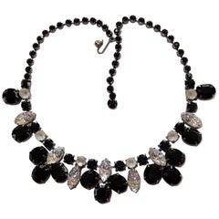 Schiaparelli Black Crystal Faux Diamond Lava Rock Art Glass Statement Necklace