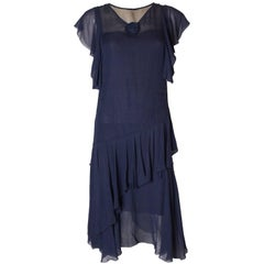 Vintage French Navy Dress