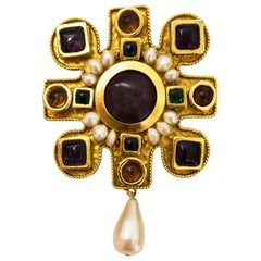 Chanel Multi-Colored Stone & Gripoix Faux Pearl Brooch/Pendant